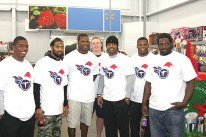 Titans players participating, left to right, included Coty Sensabaugh, Michael Griffin, Kamerian Wimbley (host), Scott Solomon, Jurrell Casey, Keyunta Dawson and Leger Douzable.