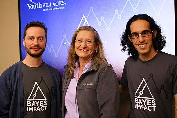Sarah Hurley, Ph. D., managing director - data science for Youth Villages (center) is working with data scientists Stephan Gabler (left) and Medhi Jamei of Bayes Impact to find trends and answer questions that can lead to program enhancements.