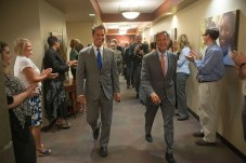Youth Villages CEO Patrick W. Lawler escorts Gov. Haslam through the Operations Center.