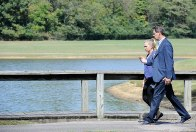 Hart walks with Youth Villages CEO Pat Lawler on the Bartlett Campus.