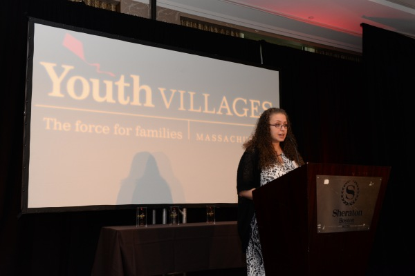 Ruby, Youth Villages-Germaine Lawrence Campus alumna, speaks at the Oct. 20 event in Boston.