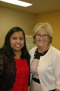 Rep. Black stands with Sandra, a young lady receiving help from the YVLifeSet program